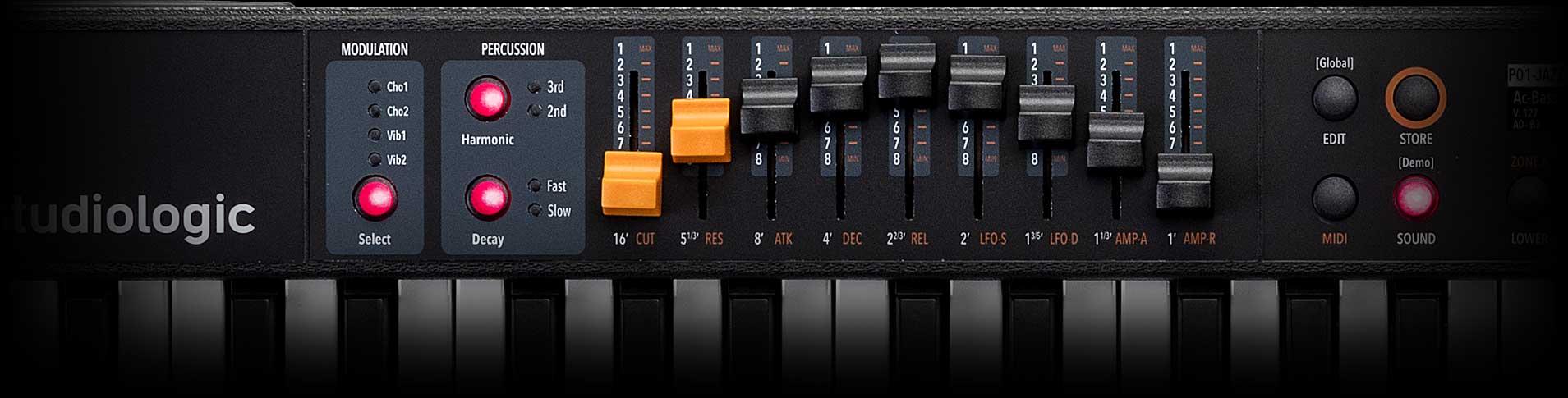Numa Compact 2x synth and organ drawbars
